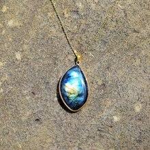 Naturel Labradorite pendentif colliers hommes énergie pierre de lune colliers pour femmes mode bijoux cadeau Collier en labradorite
