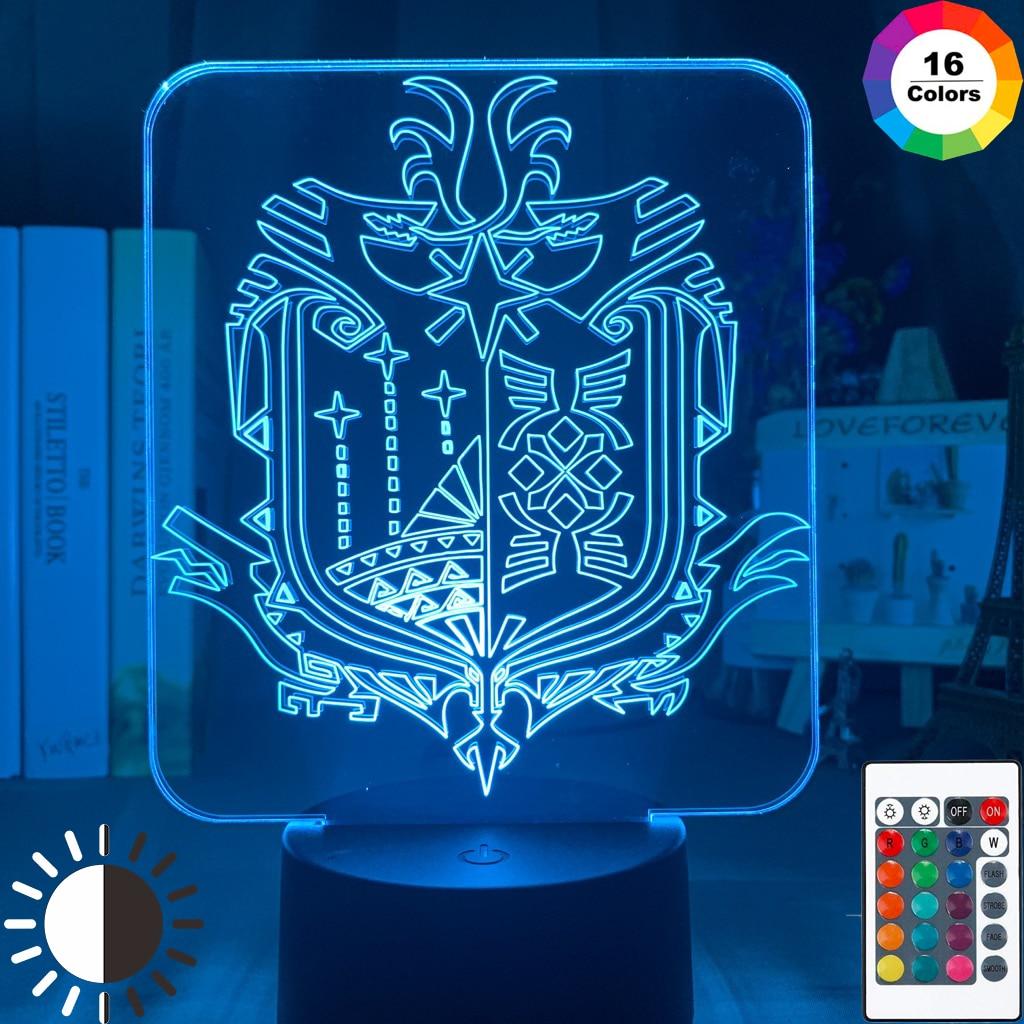 Led Night Light Lamp Video Game Monster Hunter World Logo Child Bedroom Decor Nightlight Cool Kids Birthday Gift Desk Lamp 3D