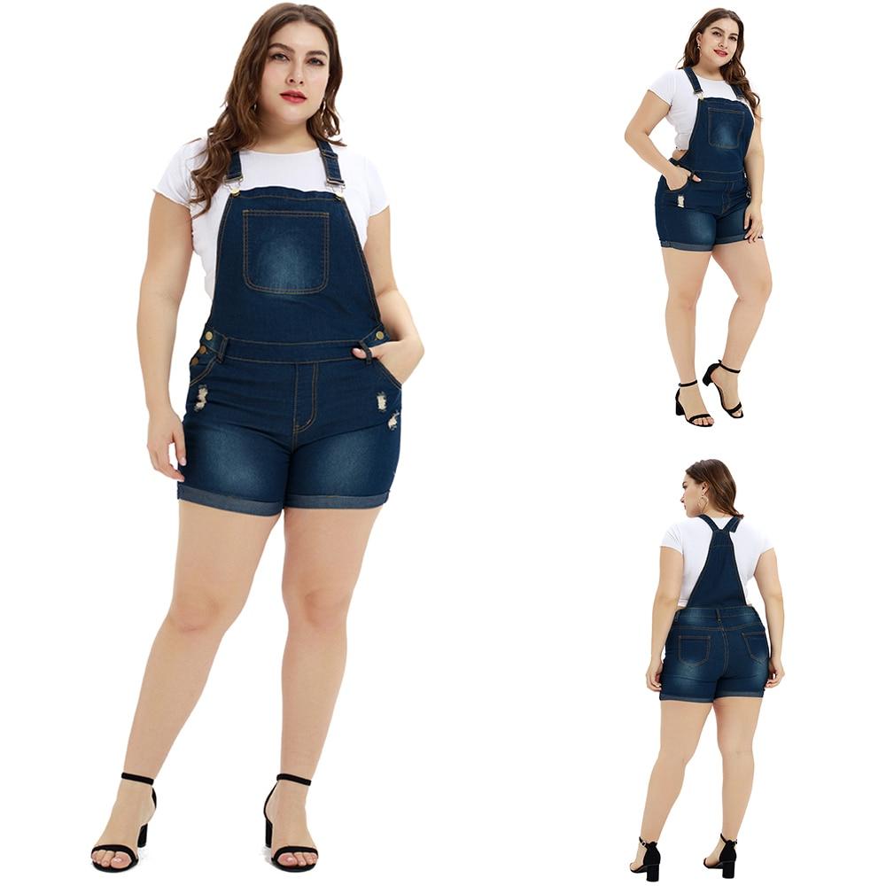 Plus Size L-5XL Women Summer Loose Denim Bib Pants Overalls Jeans Demin Shorts Women Jumpsuits Rompers