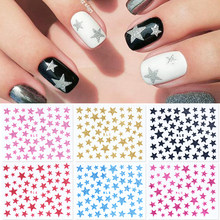 1 blatt 3D Nagel Slider Sterne Glitter Glänzend Dekoration Aufkleber DIY Transfer Klebstoff Bunte Nail art Tipps