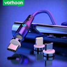 Vothoon cabo magnético de carregamento rápido micro usb tipo c cabo para iphone samsung cabo de fio de dados ímã carregador cabo do telefone móvel