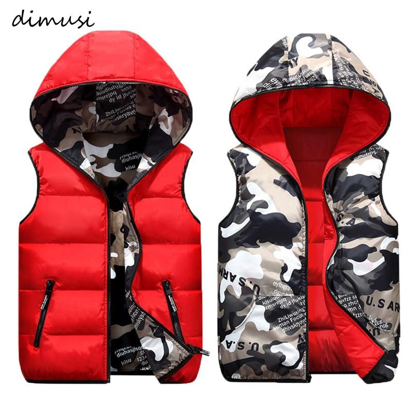 DIMUSI Mens Jacket Sleeveless Vest Winter Male Double-Wear Cotton-Padded Hooded Vest Coats Men Thick Warm Waistcoats Clothing