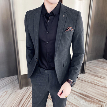 Jacket + Pant  Two-piece Suits Blazers Coat Trousers One Button New Spring Men Business Slim Suit Sets Wedding Dress