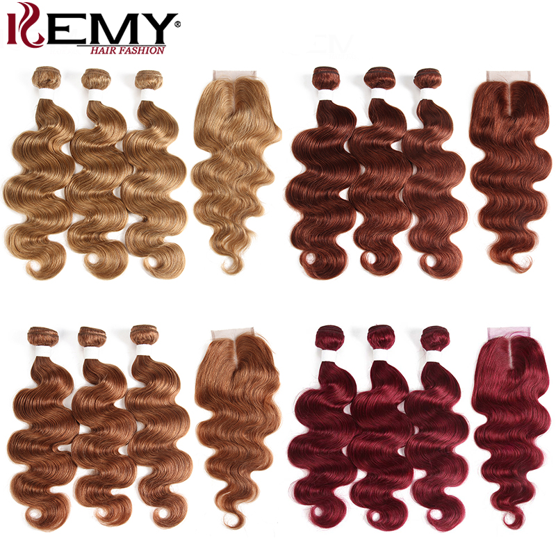 Body Wave Bundles With Closure 4x4 KEMY 3 PCS Brazilian Brown Hair Weave Bundles With Closure Non-Remy Human Hair Extension