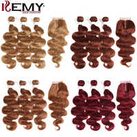 Mechones de cuerpo ondulado con cierre 4x4 KEMY 3 uds. Extensiones de pelo ondulado marrón brasileño con cierre extensión de pelo humano no Remy