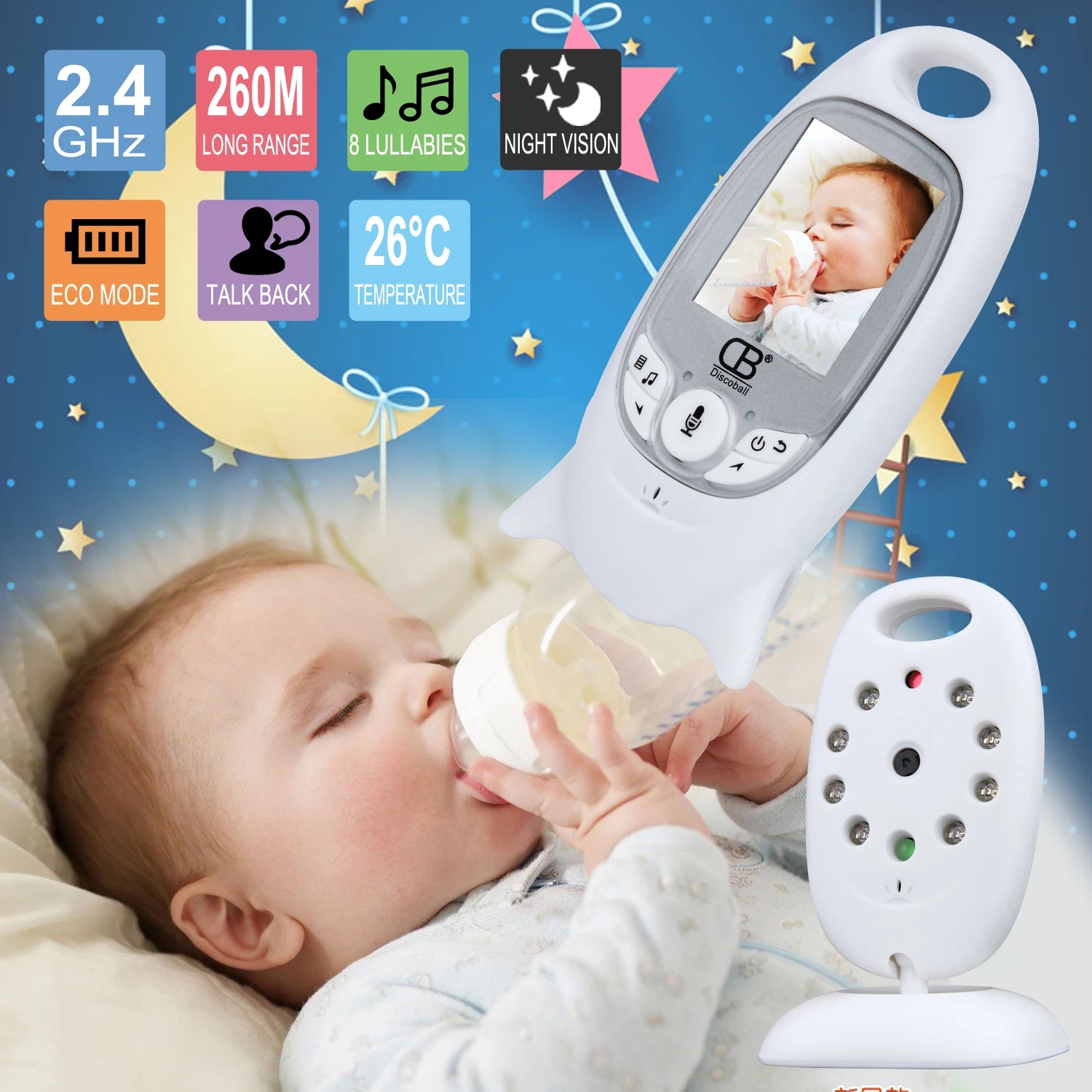 Wireless Video Baby Monitor 2.0 Inch Color Security Camera 2 Way Talk Night Vision IR LED Temperature Monitoring With 8 Lullaby