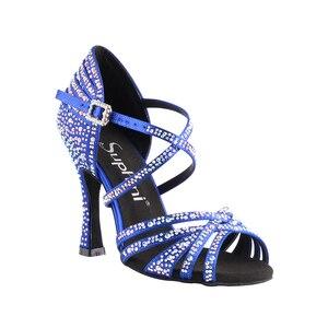 Акция 618. Сатиновые туфли на высоком каблуке 10 см с перекрещивающимися ремешками для латинских танцев сальсы