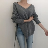 Sexy V Neck Lace Up Oversize Sweater Solid Irregular Hem Backless Sweater Korean Style Long Sleeve Knitted Sweater