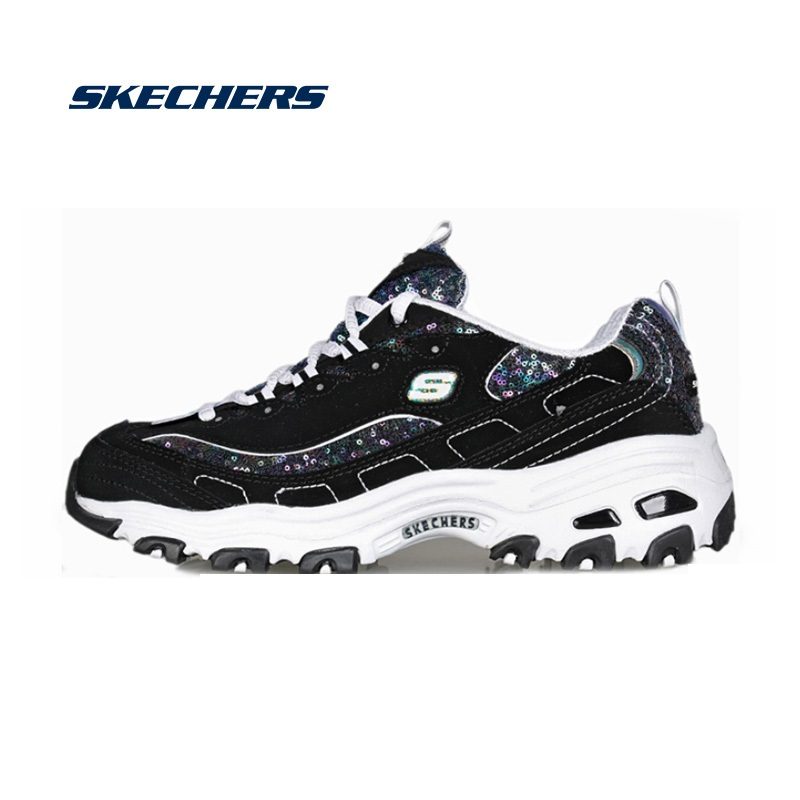 Skechers Causal Shoes Women D'lites Platform Chunky Shoes Sneakers Woman Comfortable Fashion Dad Shoes Brand Original 11916-BKW