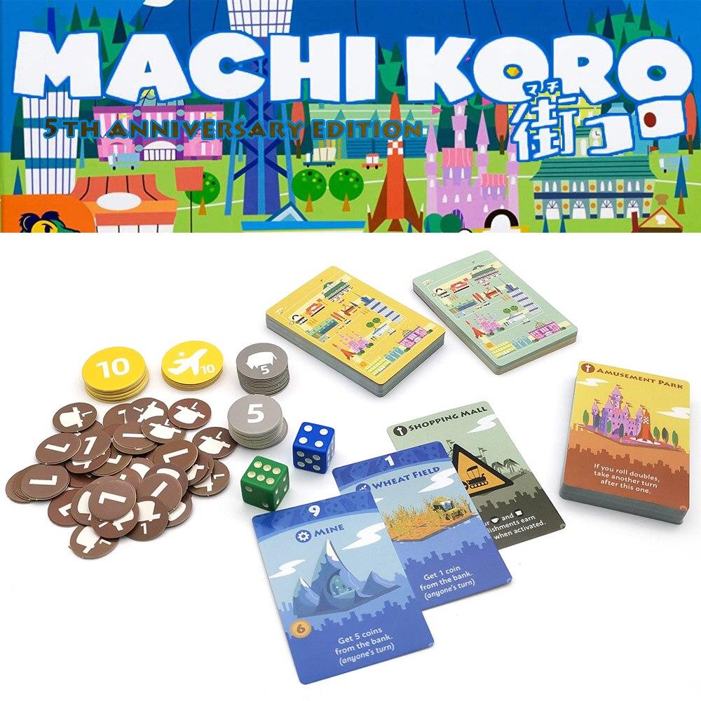 Jogos de tabuleiro machi koro construir cidade família festa jogo para adultos, adolescentes e crianças 2-4 jogadores divertido jogo de cartas para viagens