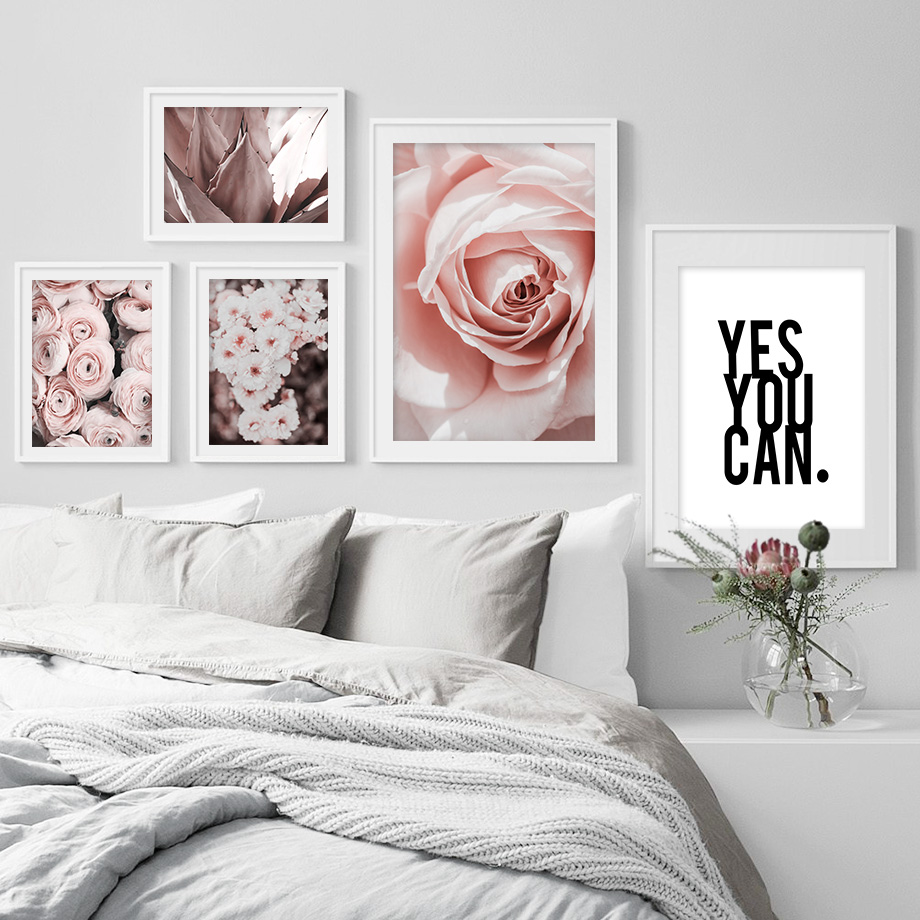 Agave Rose Flower Motivational Poster Nordic Posters And Prints Wall Art Print Canvas Painting Wall Pictures For Living Room in Painting Calligraphy from Home Garden