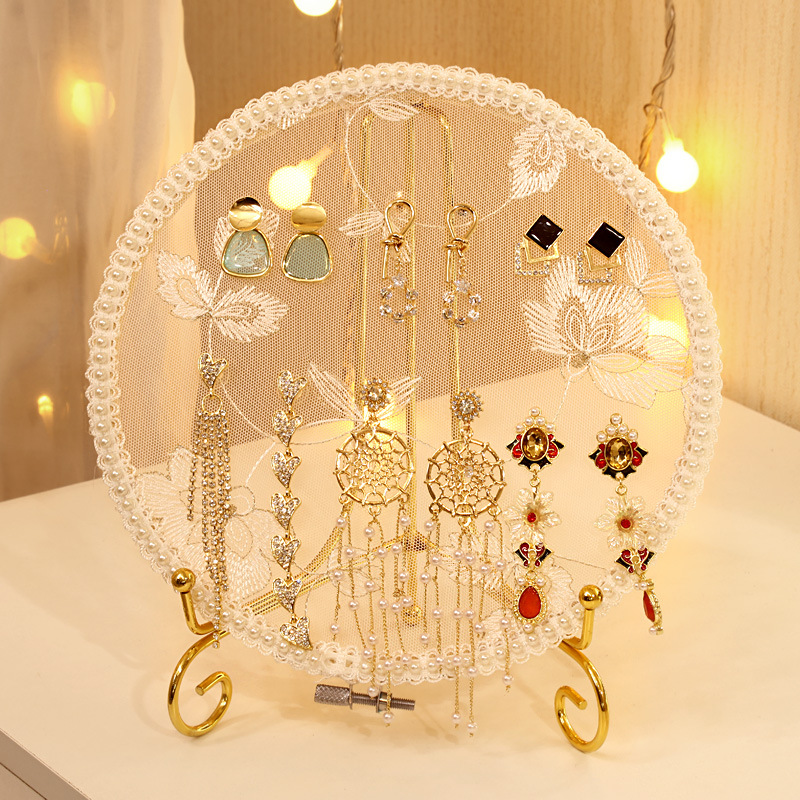 Earring Storage Display Jewelry Display Creative Desktop Shooting Props Lace Embroidery Shed Earring Holder