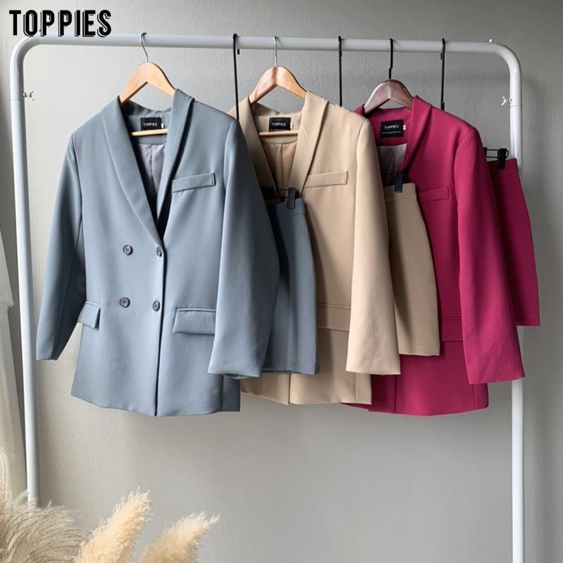 Женский блейзер Toppies, комплект из двух предметов, двубортный пиджак, Блейзер, осенний деловой костюм для женщин 2020|Костюмы с юбкой|   | АлиЭкспресс - Женские пиджаки