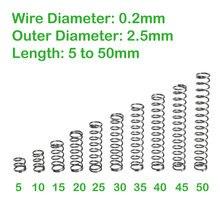 Diâmetro do fio 0.2mm od 2.5mm comprimento 5mm a 50mm pequenas molas de compressão