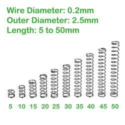Диаметр проволоки 0,2 мм, внешний диаметр 2,5 мм, Длина 5 мм до 50 мм, маленькие компрессионные пружины
