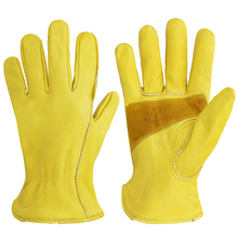 Work Gloves Leather Double Palm Genuine Cowhide Driving Gardening Construction Mining Working Glove недорого