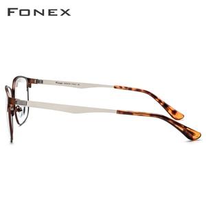 Image 3 - FONEX okulary z lekkiego stopu rama kobiety okrągłe okulary korekcyjne mężczyźni Vintage krótkowzroczność oprawki do okularów korekcyjnych koreański bezśrubowe okulary