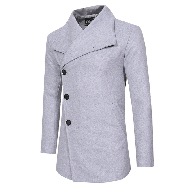 Helisopus Single Breasted Mens Coats Winter Trench Coat Jacket Casual Slim Fit Wool Blazer Fashion Long Slanting Placket Coats