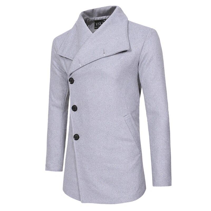 Helisopus Single Breasted Mens Coats Winter Trench Coat Jacket Casual Slim Fit Wool Blazer Fashion Long Slanting Placket Coats