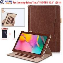 Wanderer Magnetische Fall für Samsung Galaxy Tab EINE 10,1 2019 T510 T515 PU Leder Tablet Abdeckung für Samsung Tab EIN 10,1 SM T510/T515