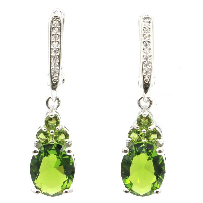 32x8mm Ravishing Drop Shape Green Peridot White CZ Gift For Ladies Jewelry Making 2019 925 Silver Earrings