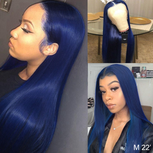 Blue Wig Lace-Wig Human-Hair Knot Deep-T-Part Pre-Plucked Remy 180 Density Bleached
