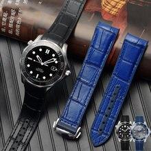 Ремешок кожаный для omega watch speed seamaster браслет с раскладной