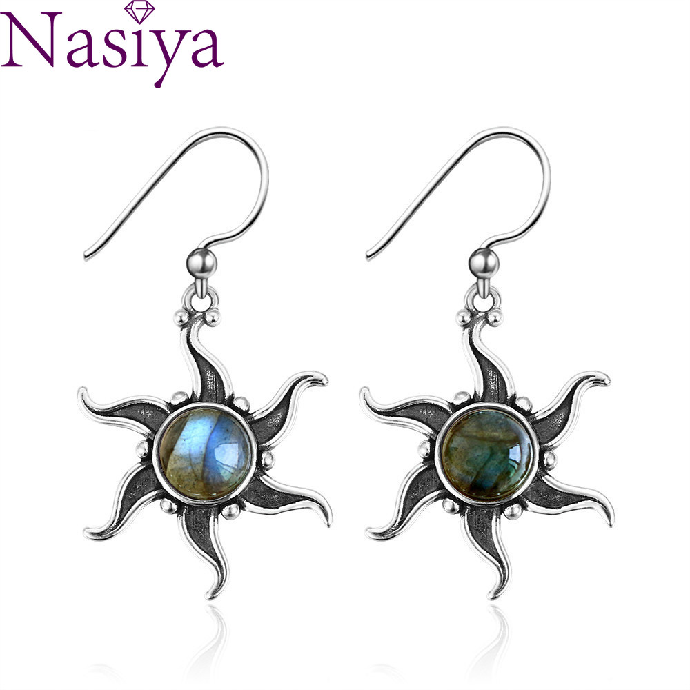 Vintage Boho Natural Labradorite 925 Silver Dangle Drop Earrings For Women Female New Wedding Party Jewelry Accessories