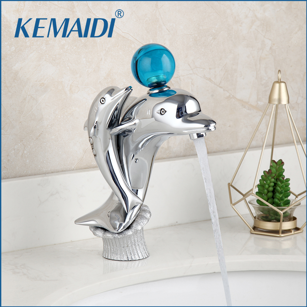 KEMAIDI Bathroom Basin Faucet Brass Chrome Dolphins Basin Faucet Single Hole Hot and Cold Wash Basin Faucet Sink Mixer Tap(China)