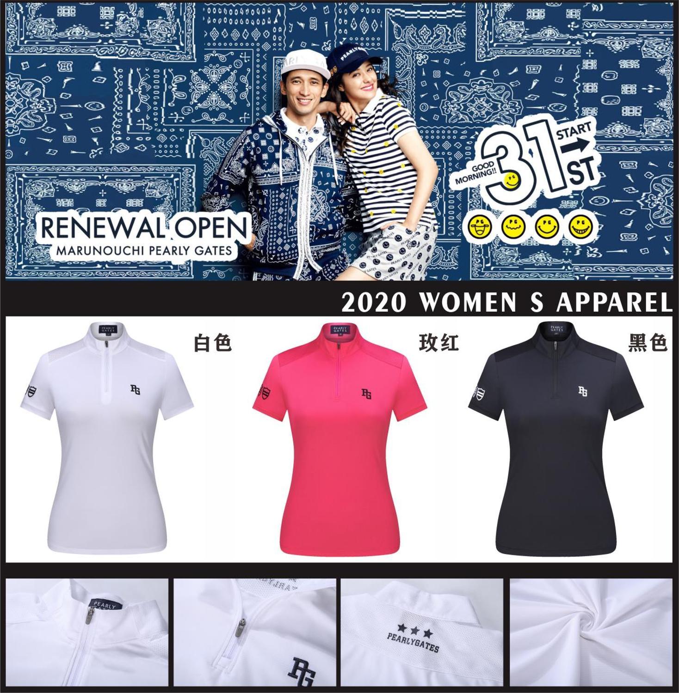 2020new Spring Women Golf Shirt Short Sleeve Quick Dry Turndown Collar Lady Golf Clothing