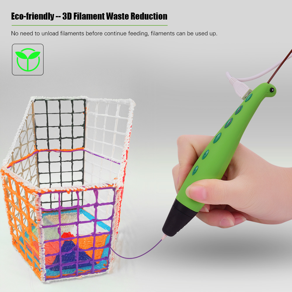 3D Pen Adorable Dinosaur Shaped Intelligent 3D Drawing Printer Pen 2 Speeds Safe Easy Control Educational Toys Gift for Kids