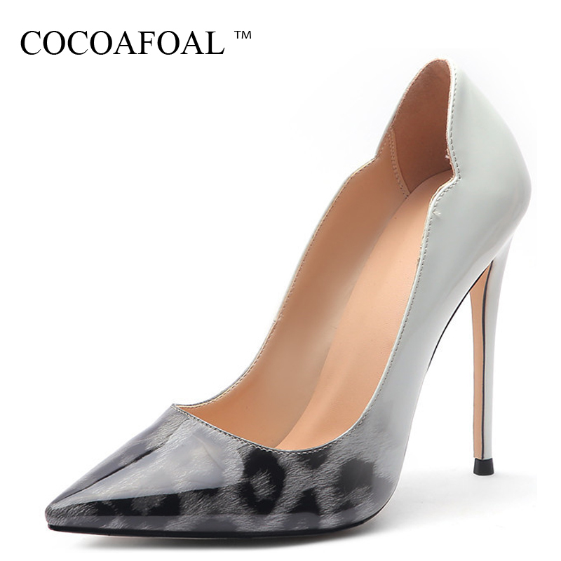 COCOAFOAL Luipaard Print women High heels Women's shoes Wedding shoes Pumps Plus Size Fashion Sexy Punch shoes Pumps black
