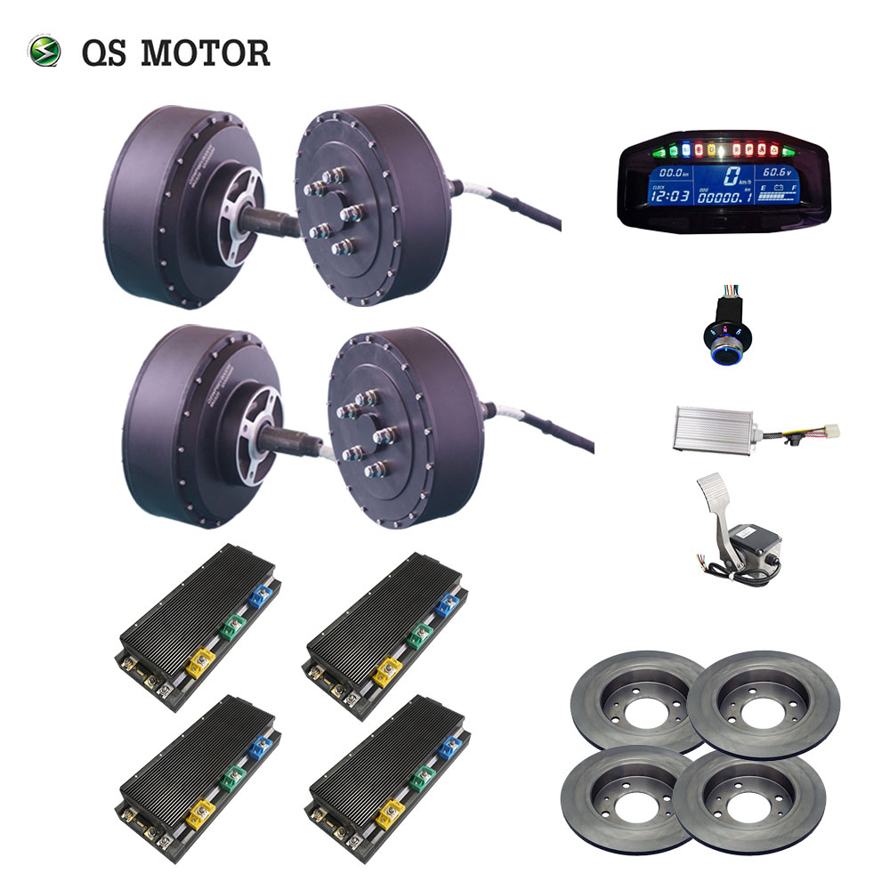 <font><b>QS</b></font> <font><b>Motor</b></font> <font><b>273</b></font> 8000W 4wd 96V 115kph 72V 95kph 48V 67kph BLDC brushless electric car hub <font><b>motor</b></font> conversion kits with APT96600 <font><b>motor</b></font> image