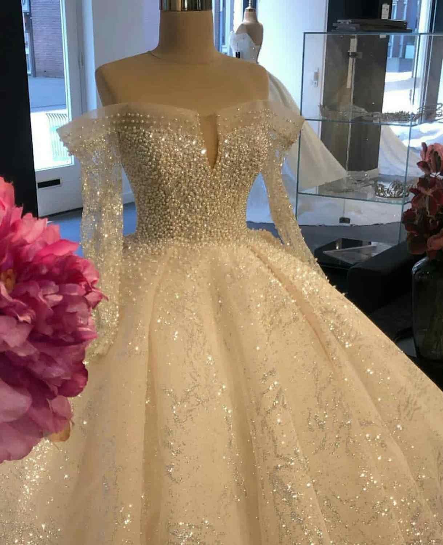 נסיכת 2020 בתוספת גודל שמלות כלה V צוואר ארוך שרוול כדור שמלה לטאטא רכבת Applique תחרה חתונה שמלת Vestido Noiva