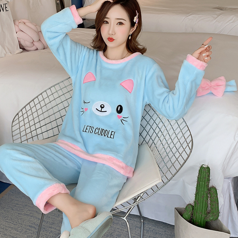Betyline 2019 New Winter Pajamas For Women Sleepwear Warm Flannel Long Sleeves Pajamas Cute Animal Homewear Thick Homewear 175