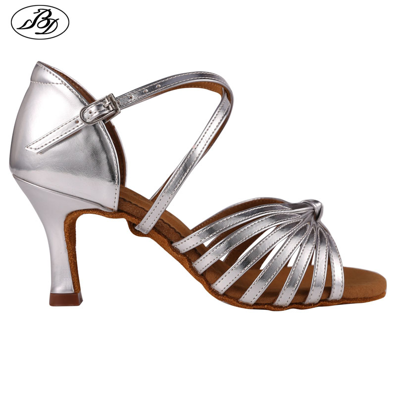 Women Latin Dance Shoes BD2398 Silver Golden  Dancesport Shoes  Ladies Dancing Sandal Ballroom