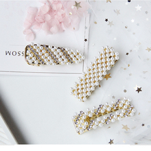 Fashion Women Pearl Rhinestone Hair Clip Elegant Design Hair Accessories Crystal Hair Pins for Girls Geometric Barrette ubuhle fashion women full pearl hair clip girls hair barrette hairpin hair elegant design sweet hair jewelry accessories 2019