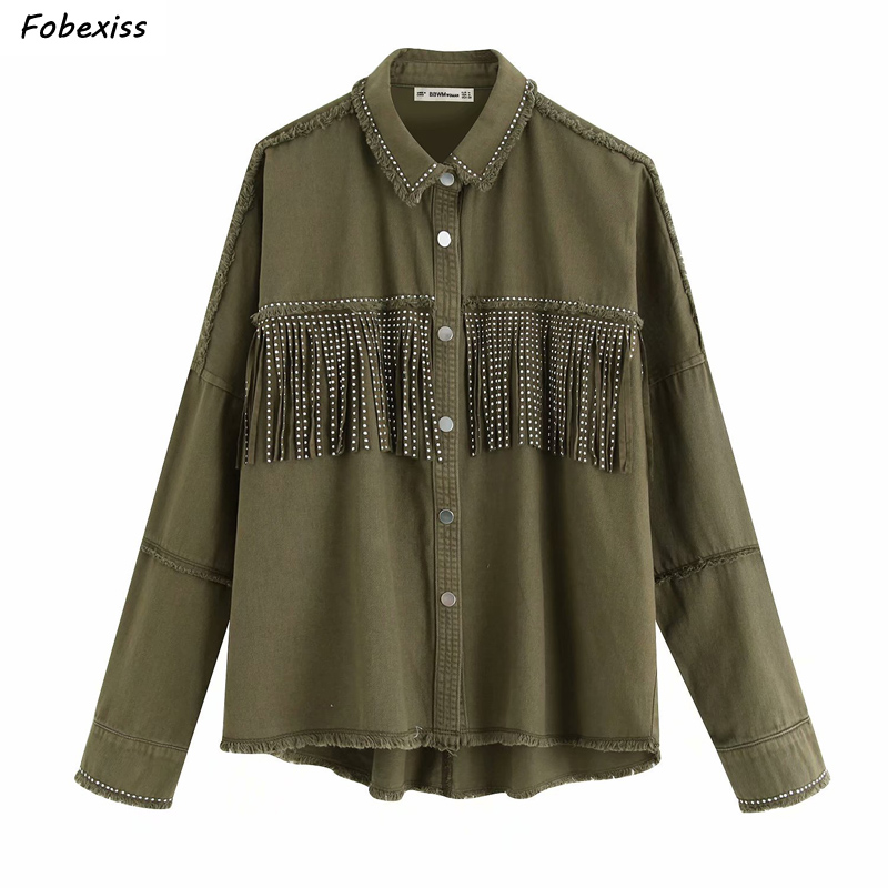2019 Women Stylish Oversized Fringe Beading Decorate Denim Jacket Tassel Patchwork Long Sleeve Coat Female Outwear Loose Tops in Jackets from Women 39 s Clothing