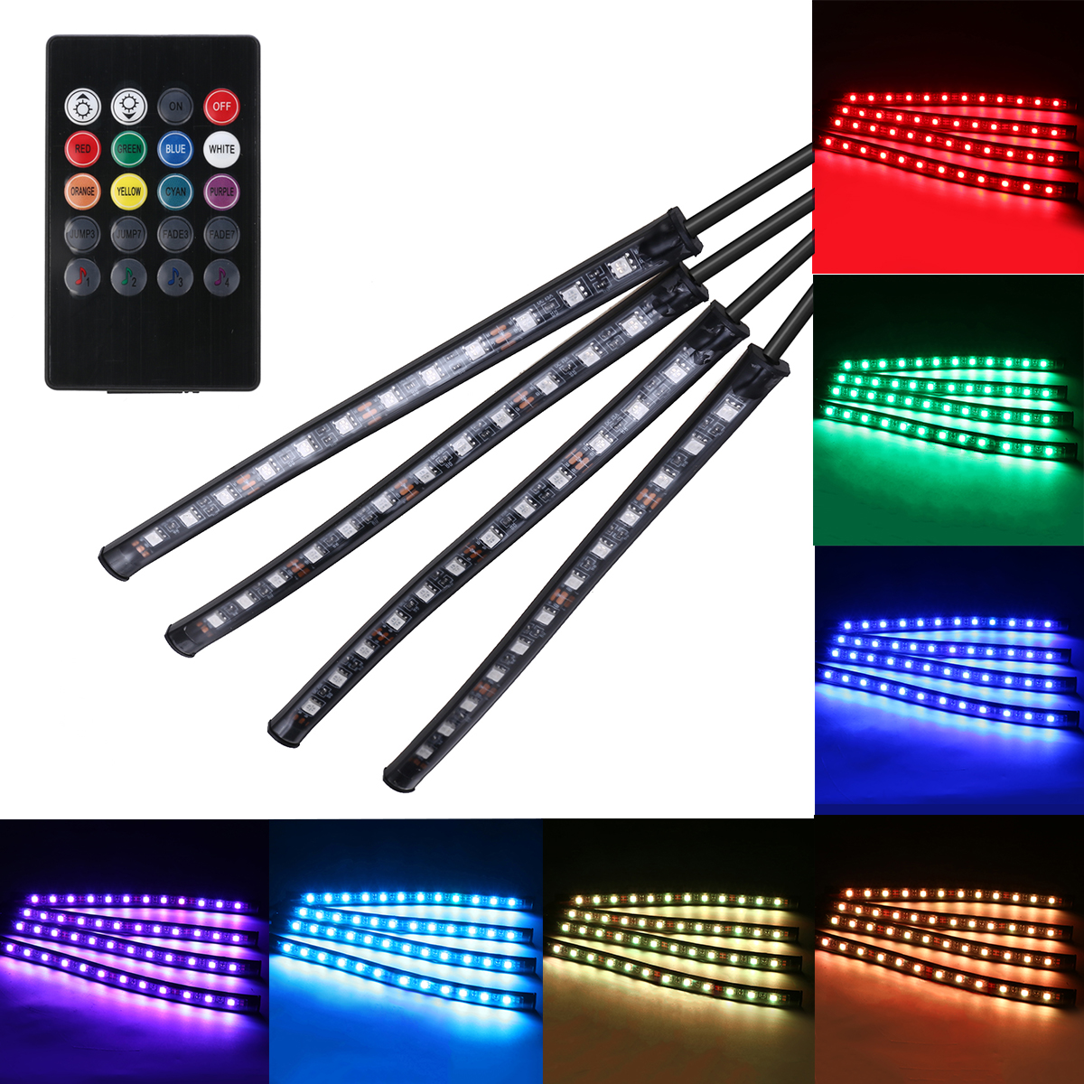 4pcs/set RGB 12LED Car Interior Neon Atmosphere Strip Light Colorful Decorative Lamp With Music Remote Control DC 12V