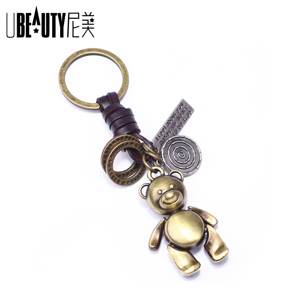 New Arrival Women Metal Teddy Bear Doll Key Chain Creative Gifts Bronze Keychain Key Ring Trinket