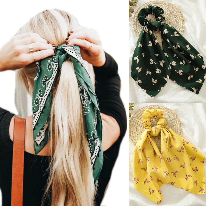 MINHIN Floral Print Scrunchies For Women Elastic Hair Bands Streamers Bow Hair Scarf Hair Rope Ties Fashion Hair Accessories