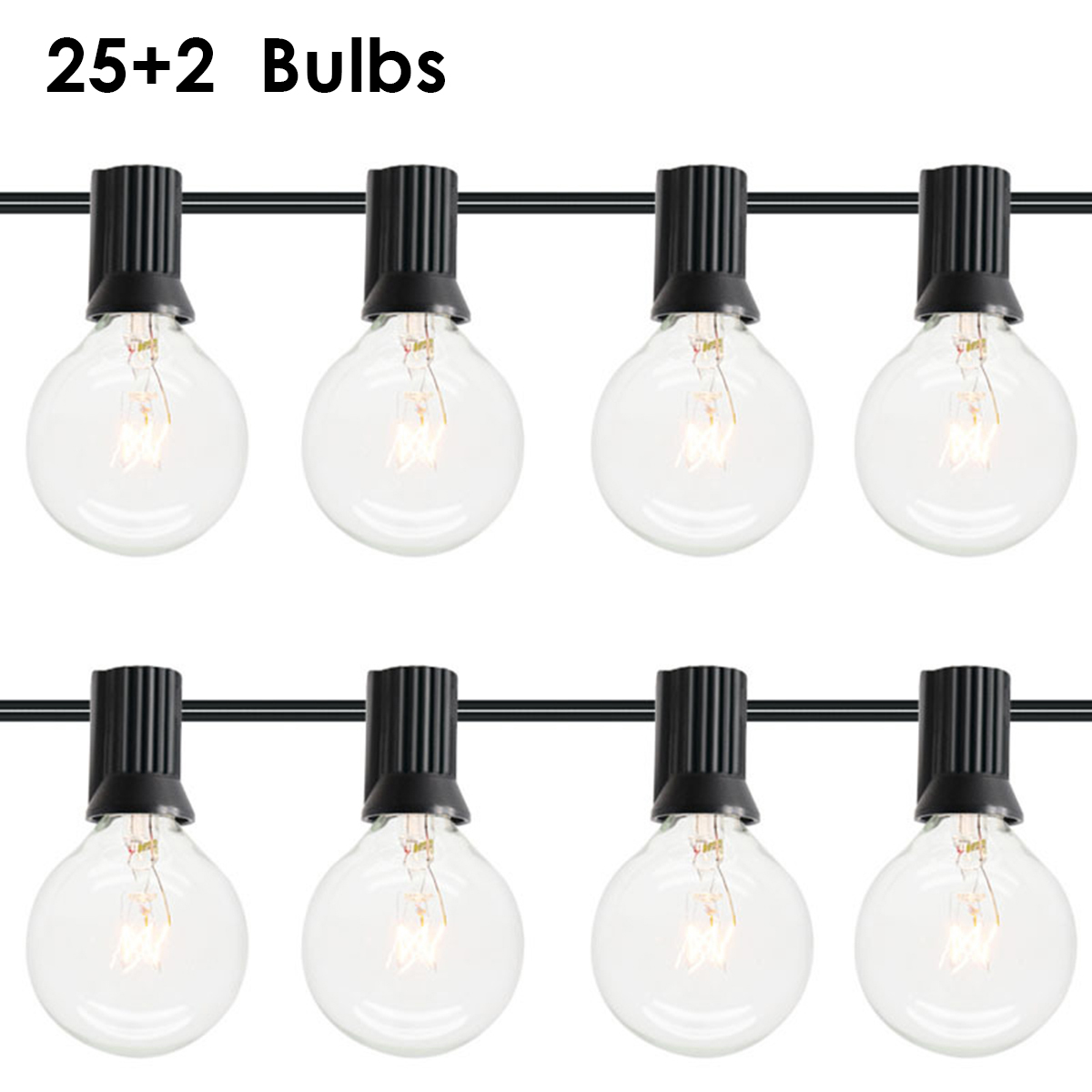 25ft LED Garden Lawn Lamp G40 Globe Bulbs Festoon String Light Plug-In Outdoor Garden Decor Light  Christmas Decoration