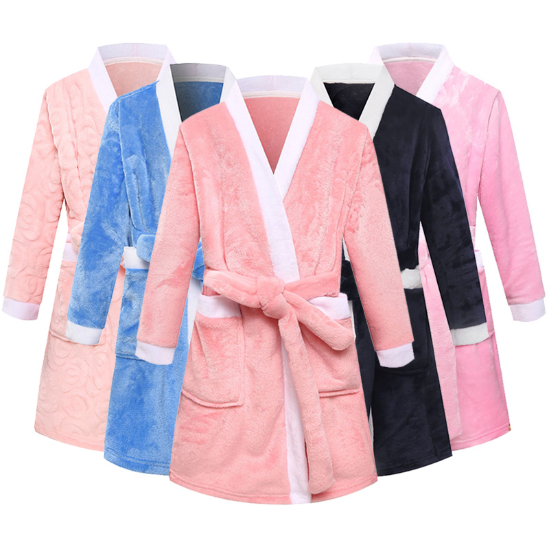 Children Bathrobes Winter Girls Nightgowns Solid Baby Boy Flannel Robe Clothing Kids Bathrobe For Girls Sleepwear Robe