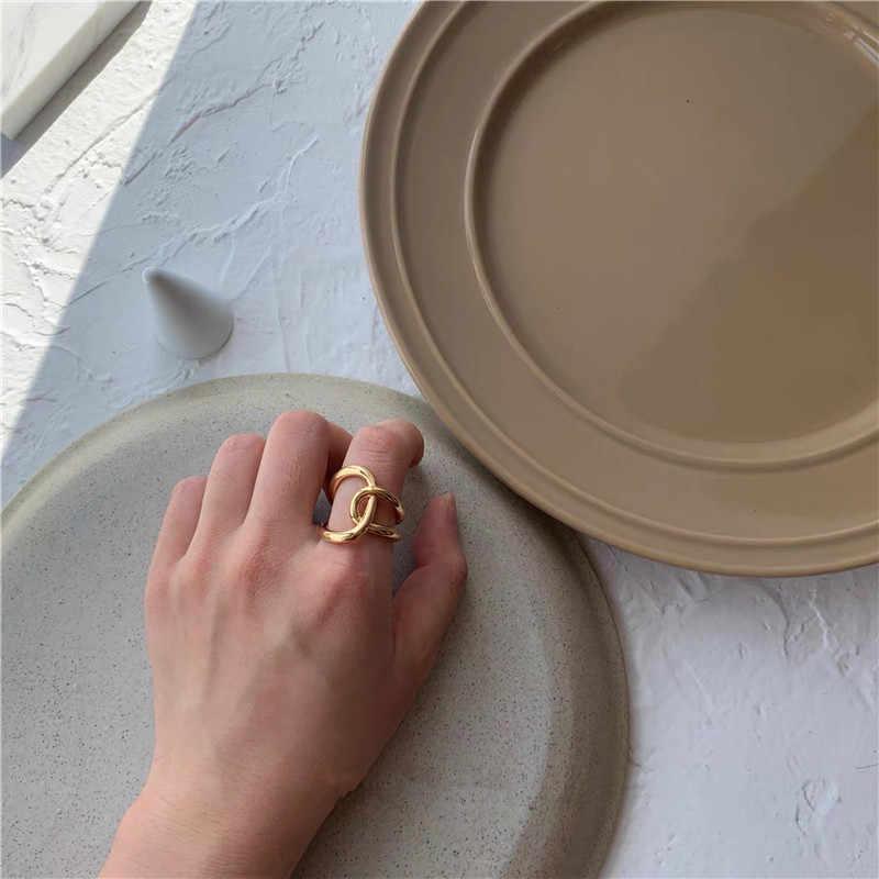 AOMU 1 قطعة 2020 موضة الذهبي المعادن خواتم للنساء هندسية الصليب تويست الحد الأدنى الدائري مجوهرات الحفلات هدايا