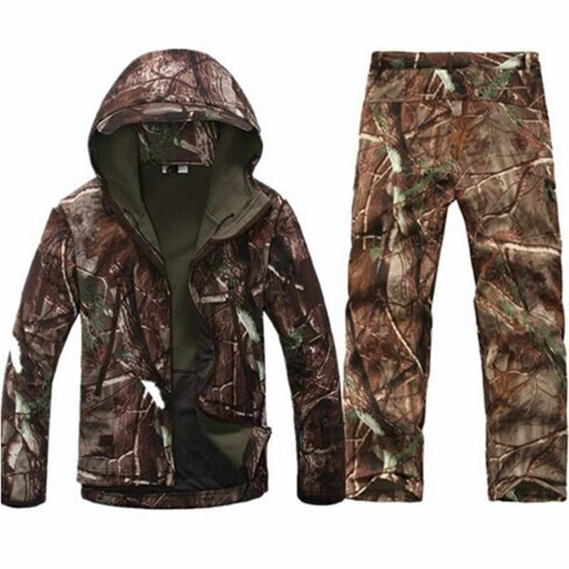 Ветровка в стиле милитари, водонепроницаемая флисовая куртка с капюшоном для охоты на открытом воздухе, кемпинга, TAD софтшелл + штаны