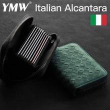 YMW ALCANTARA Weave Card Holder Bag Luxury Women & Man Artificial Leather Slim Card Zipper Wallet Small Thin Card Package