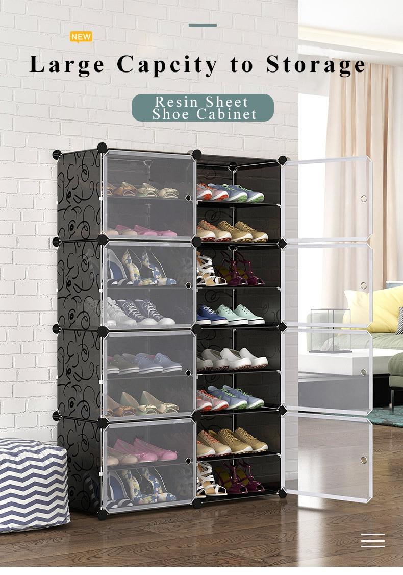 Multilayer Schuh Rack Raum Schuhe Stiefel Organizer Closet DIY Montiert Modul Schuh Schrank mit Tür Home Möbel Moderne