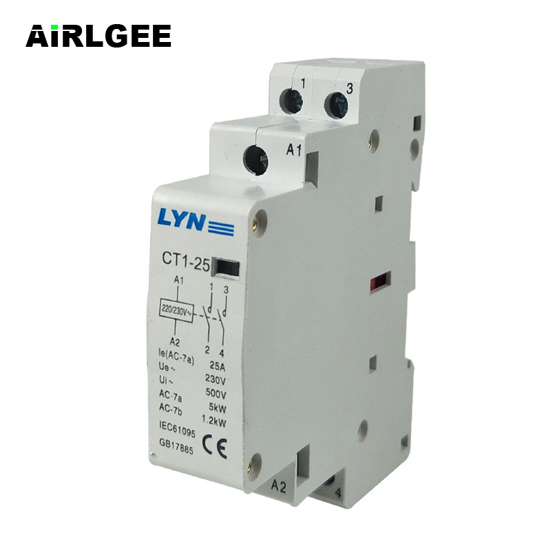 CT1-25/2P Household 2-Phase Pole 2NO(Normal Open) AC Power Contactor Coil 220/230V Ie <font><b>25A</b></font> image