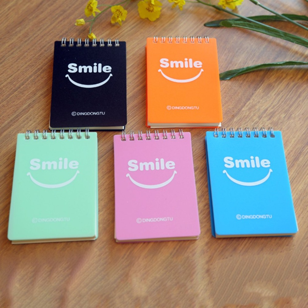 Cute Smile Face Portable Mini Coil Notepad Hard Cover Cute Animal Notebook Memo Time Organizer Student School Supplies Kid Gift