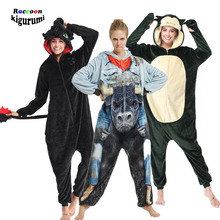 Raccoon Kigurumi Animal Costume Adult Onesies Kids Cartoon Toothless Onsie Men One-Piece Pijama Cosplay Women Jumpsuit Pyjamas